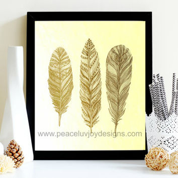 Wall Art, Gold Foil Feather Trio, 8x10, Instant Download Print, Boho Wall Print, Boho Chic Feather, Gold Foil Print,  Feather Table Art