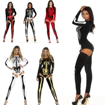 Women Halloween Role Playing Costume sexy catsuit Human skeleton skull slim jumpsuit + socks