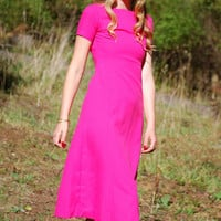 Vintage 60's Dress, Hot Pink A line Midi Dress, XS 60s Mod Dress, Birthday Party Dress, 1960s Vintage Dress, Pretty in Pink bridesmaid dress