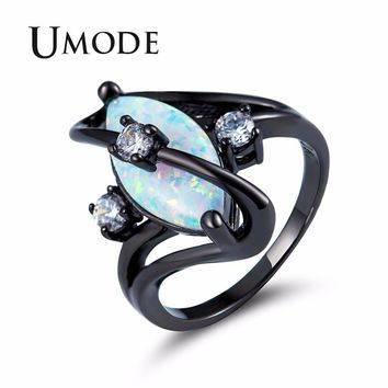 UMODE Fashion Eyes White Fire Opal Women Rings Female Egg Vintage CZ Stone Girls Black Gold Jewelry Wedding Accessories UR0427