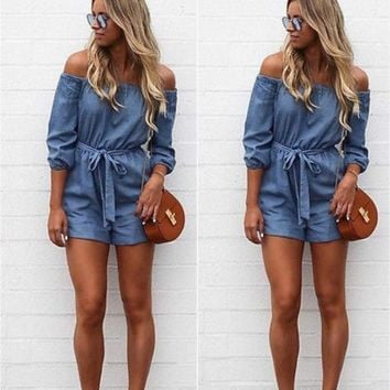 Fashion Women Clubwear Summer Off Shoulder Short Sleeve Bandage Denim Rompers Jeans Playsuit Loose Casual Party Jumpsuit Outfit
