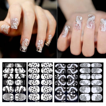 Flower 3D Lace Nail Art Decoration Self-Adhesive Nail Stickers Decals Full Wraps 6 Sheets/ Packs