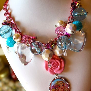 Barbie Baubles and Bling Chunky Candy Crystal Statement Necklace - Blushing Bride