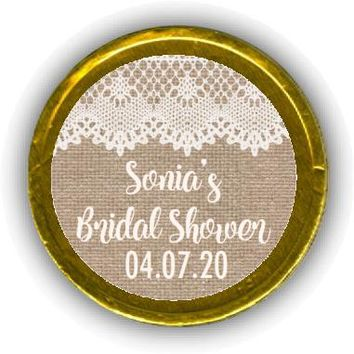 Burlap and Lace Bridal Shower Chocolate Coins