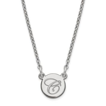Sterling Silver Personalized Engraved Tiny Circle Disc Pendant Script or Block Initial Necklace