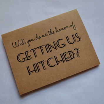 WILL you do us the honor of GETTING us HITCHED priest deacon hitch us card will you be our officiant kraft card wedding card officiant cards