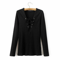 Sexy Bandage V neck Long sleeve Tee  Autumn  Women Tie Neck Cross Lacing up Jersey t shirt White Black S M L