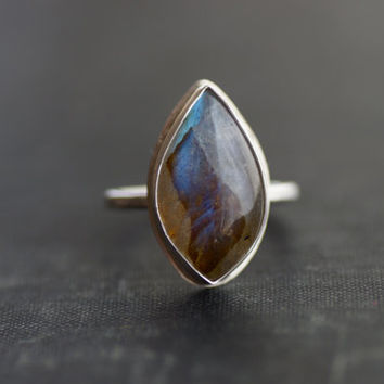 Labradorite and Sterling Silver Ring - Size 7.5