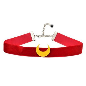 ac NOOW2 fashion lychee Anime Sailor Moon Choker Necklace Tsuking Usagi Red Ribbon Moon Pendant Cosplay Chocker Necklace For Women Girl