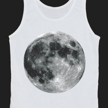 The Full Moon Lunar Circle Tank Top Women Tops White Tee Shirt Tank Tops Size XS, S, M, L