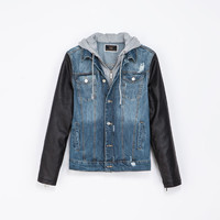 DENIM JACKET WITH FAUX LEATHER SLEEVES