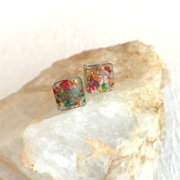 Resin Flower Petal Earrings, jewelry silver stainless steel posts studs multicolor pressed dried flowers small pierced square hypoallergenic