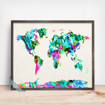 World Map Print, Watercolor World Map, World Map Poster, Office Decor, Livingroom Decor, Playroom Decorations, Map Art, Mothers Day Gift