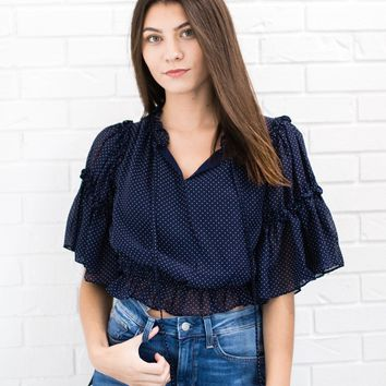 Navy Dot Top