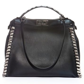 Fendi 'Large Peekaboo' Calfskin Leather & Genuine Snakeskin Bag | Nordstrom