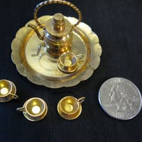 Dollhouse Miniatures Tea Set Pot Cups Platter Serving Brass