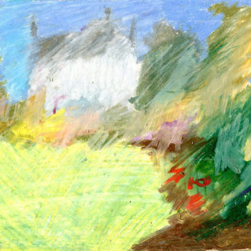 MELBURY GARDEN -  Instant Download - Fine Art - Tree Drawing - Oil Pastel Drawing - Contemporary Art - Digital File