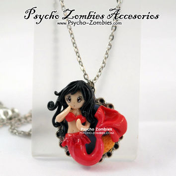 Red mermaid siren girl cameo OOAK necklace
