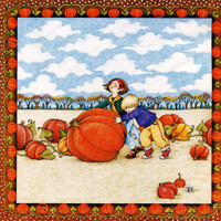 Mary Engelbreit Daisy Kingdom 6522 PUMPKIN PATCH Iron On Transfer Boy Girl Gardening T-Shirt Fall Autumn Crafts Sweatshirt Canvas Bag