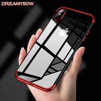 Luxury Silicone Clear Case for iPhone X 6 6S Plus TPU Soft Plating Frame Transparent Back Cover for iPhone 7 8 Plus XS Max XR