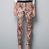 PRINTED TROUSERS WITH CONTRASTING WAIST - Trousers - Woman - ZARA United States