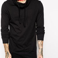 ASOS Long Sleeve T-Shirt In Long Length With Cowl Neck