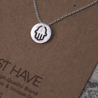 Hamsa Circle Necklace