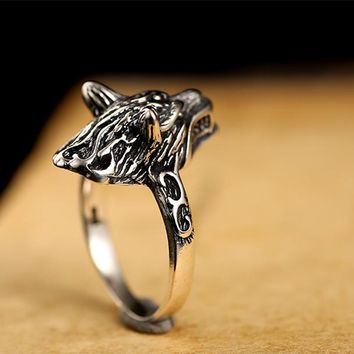 WOLF ANIMAL SMALL RINGS FOR MEN VINTAGE PUNK GOTHIC STERLING SILVER
