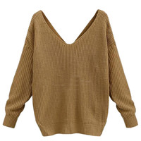 Khaki V-neck Knot Back Long Sleeve Knit Jumper