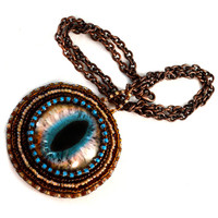 Cat Eye Necklace in Brown and Teal - Twisted Pixies