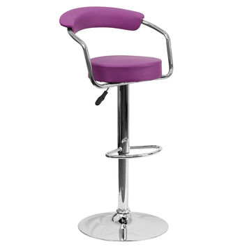 Retro Kitchen Home Office Den Chrome Frame Bar Counter Stools Chairs 9-Colors #1060 (Purple)