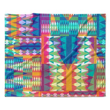 "Miranda Mol ""Triangle Quilt"" Multicolor Geometric Fleece Throw Blanket"