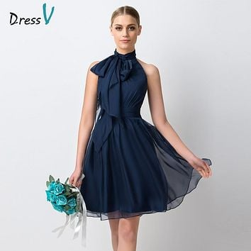Dressv Navy Blue Chiffon Short Bridesmaid Dress 2017 Simple Knee Length A-Line High Neck Ruffles Maid of Honor Dress Party Gowns