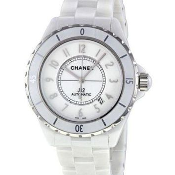 Kalete Chanel Fashion Ladies Men Personality White Ceramic Steel Watch Couple Wristwatch I