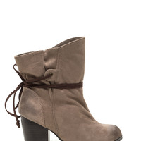 Tied Paper Bag Faux Suede Booties