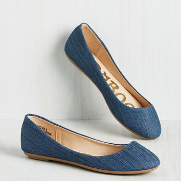 Skimmer Me Timbers Flat in Denim | Mod Retro Vintage Flats | ModCloth.com
