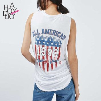 Summer Womens American Flag Tank Top Sleeveless Loose White Street Punk Style Femmes Long Vest Tops 2016 Clothing Haoduoyi