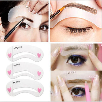 Brow Shaping Stencil Kit 3 Styles Grooming Painted Model Beauty Eyebrow Template Cosmetics