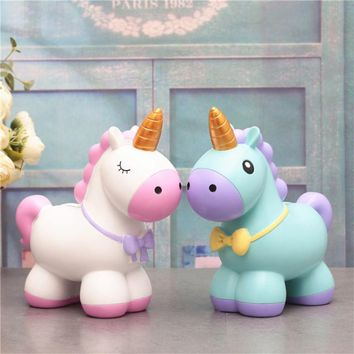 Unicorn Money Box Piggy Bank Large Large Creative Home Decoration Wood Ornaments Bank Money Box Figurines Saving Money Gift