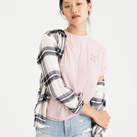 AEO Ahh-Mazingly Soft Plaid Boyfriend Shirt, White