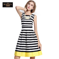 Striped Summer Dress Design High Quality Fit and Flare Knee-Length Vestidos Plus Size Swing Dress