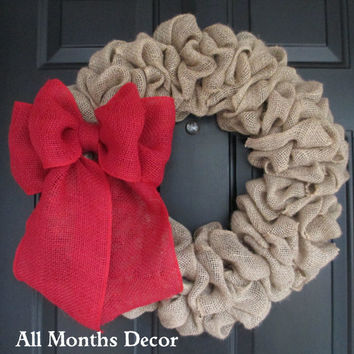 Natural Burlap Wreath with Red Burlap Bow, Country, Rustic, Door Porch, Spring Easter Fall Winter, Holiday, Year Round