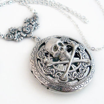 Pirate Plunder - Round Silver Scent Locket Necklace Pendant Jewelry
