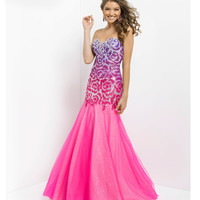 (PRE-ORDER) Blush 2014 Prom Dresses - Shocking Pink Strapless Sequin Prom Gown