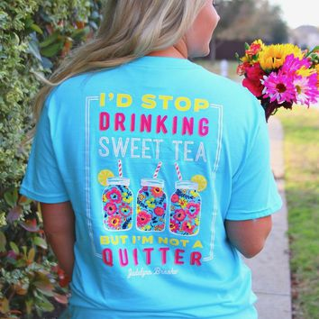 Jadelynn Brooke: Stop Drinking Sweet Tea, Not a Quitter S/L Tee {Aqua}