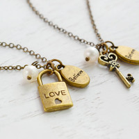 Friendship Key and Lock Necklaces,Best Friend Necklace,BFF,Key and Lock Necklace,Bestie,Soul Mates,Couple Necklace,Key to My Heart,Believe