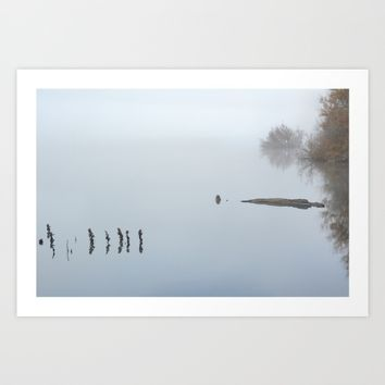 """Looking At The End..."" Foggy sunrise at the lake Art Print by Guido Montañés"