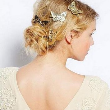 Amazing Coming Gold Butterfly Hair Hair Accessories Clip Headband Hair Head Decoration Wedding Jewelry Free