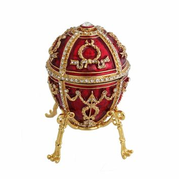 High Quality Large Red Faberge Egg Box Attached to the necklace and folwer bud