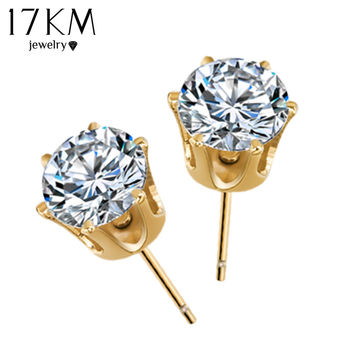 Popular Luxury Crystal Zircon Stud Earrings Elegant Channel